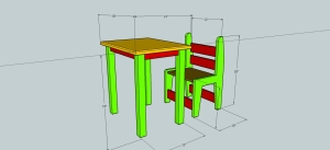 Simple desk and chair